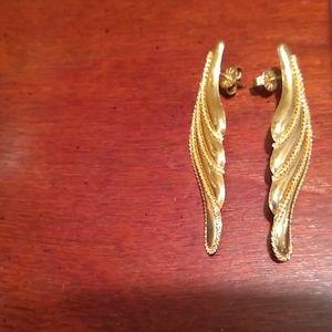 14 karat yellow gold angel wing earrings